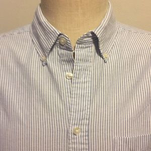 Men's NWT Merona LS Shirt Pin Stripe Blue Size Lg